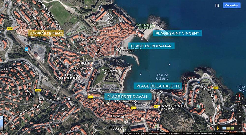 Plan des plages de Collioure